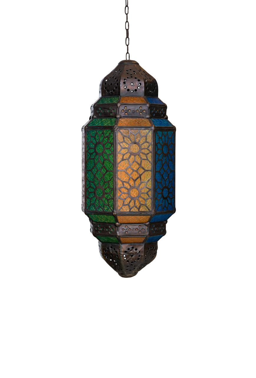 Moroccan stained glass hanging lamp