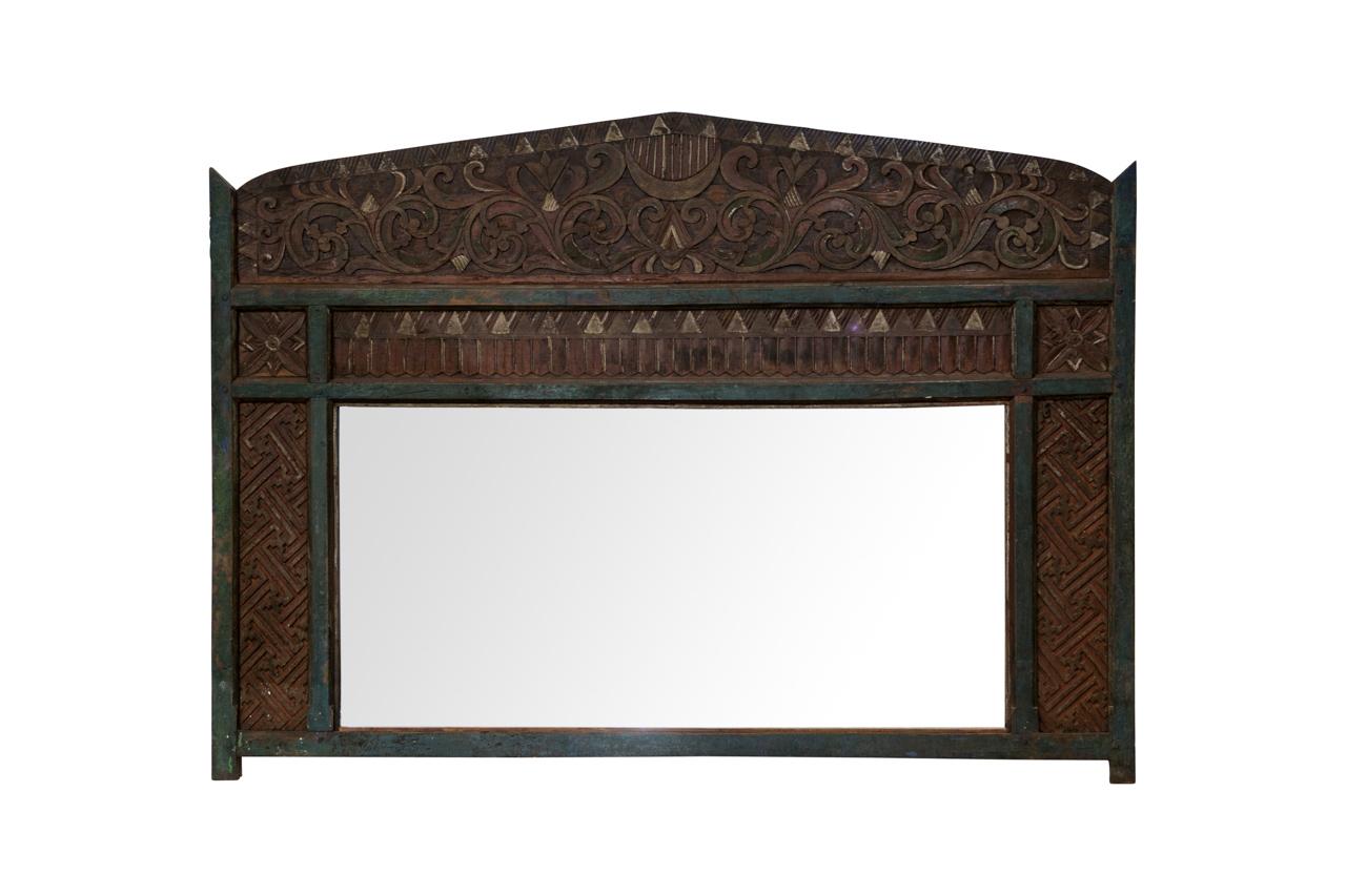 Wooden headboard with mirror