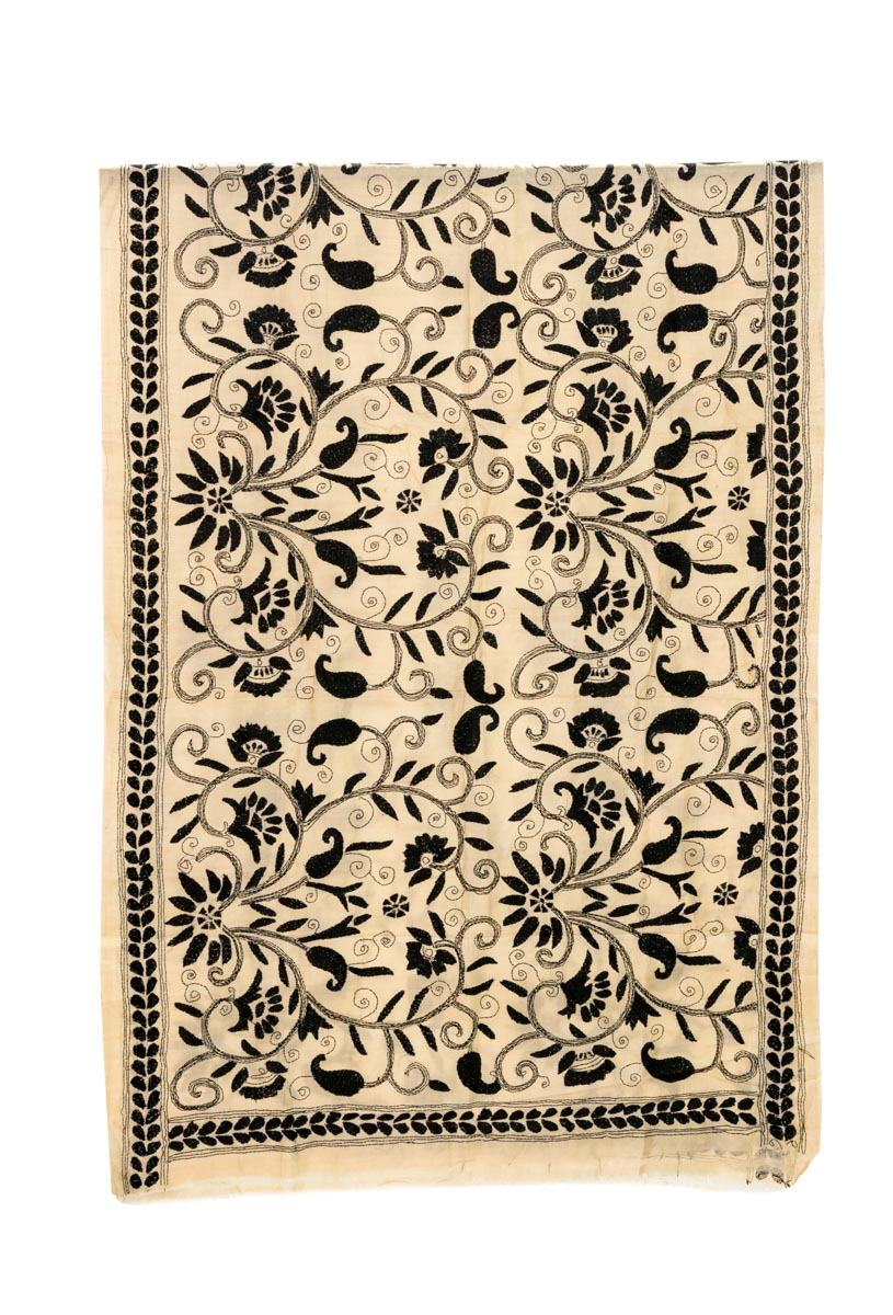 Decorative fabric India Floral black-white