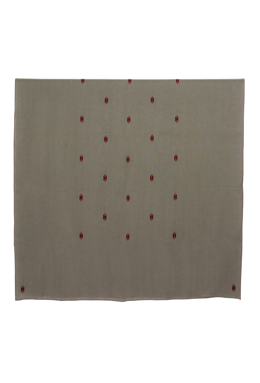 Mantel de Lino telar Marroquí bordado- gris oscuro