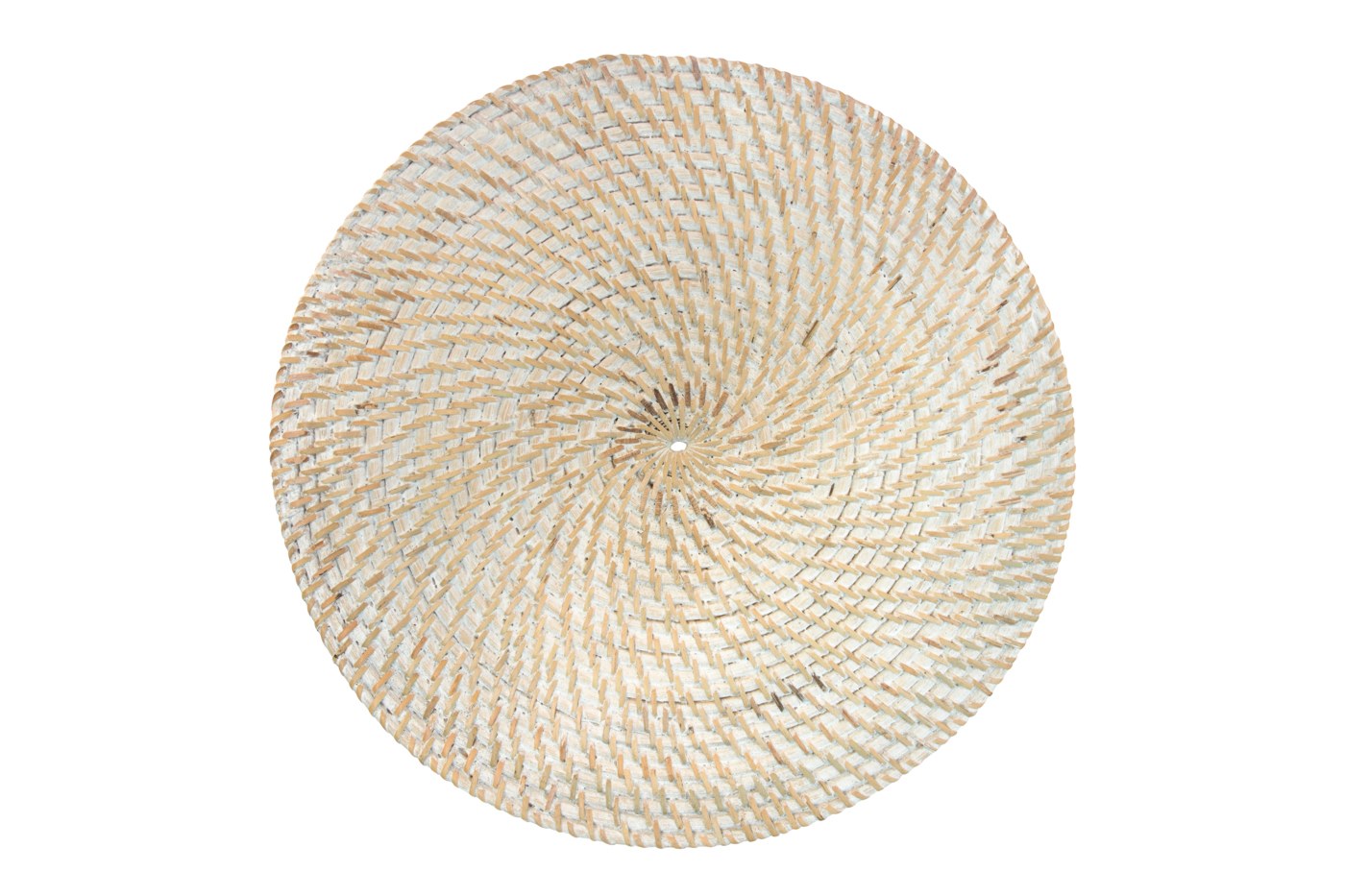Round woven rattan placemat whitewash