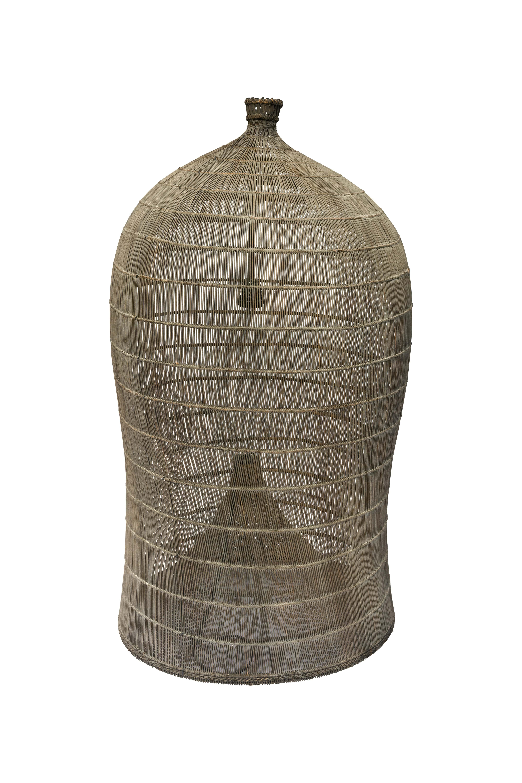 Lámpara estilo camaronera café claro en bamboo