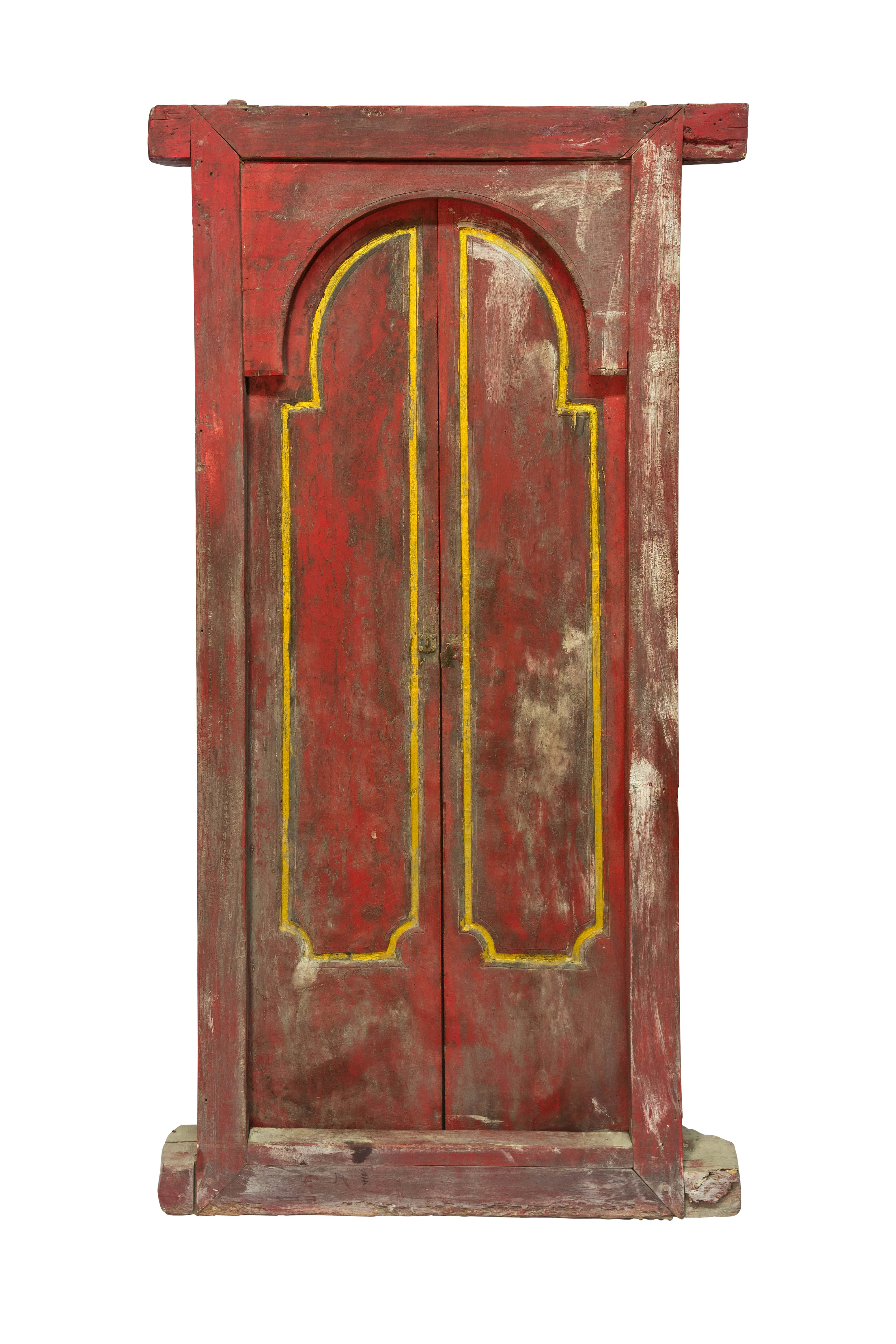 Double wooden door Indonesia red and gold