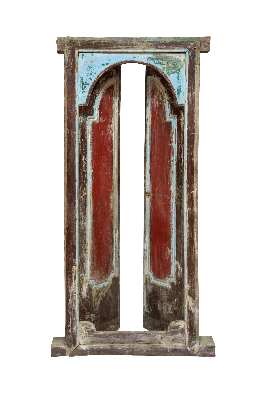 Puerta de madera doble Indonesia rojo y azul