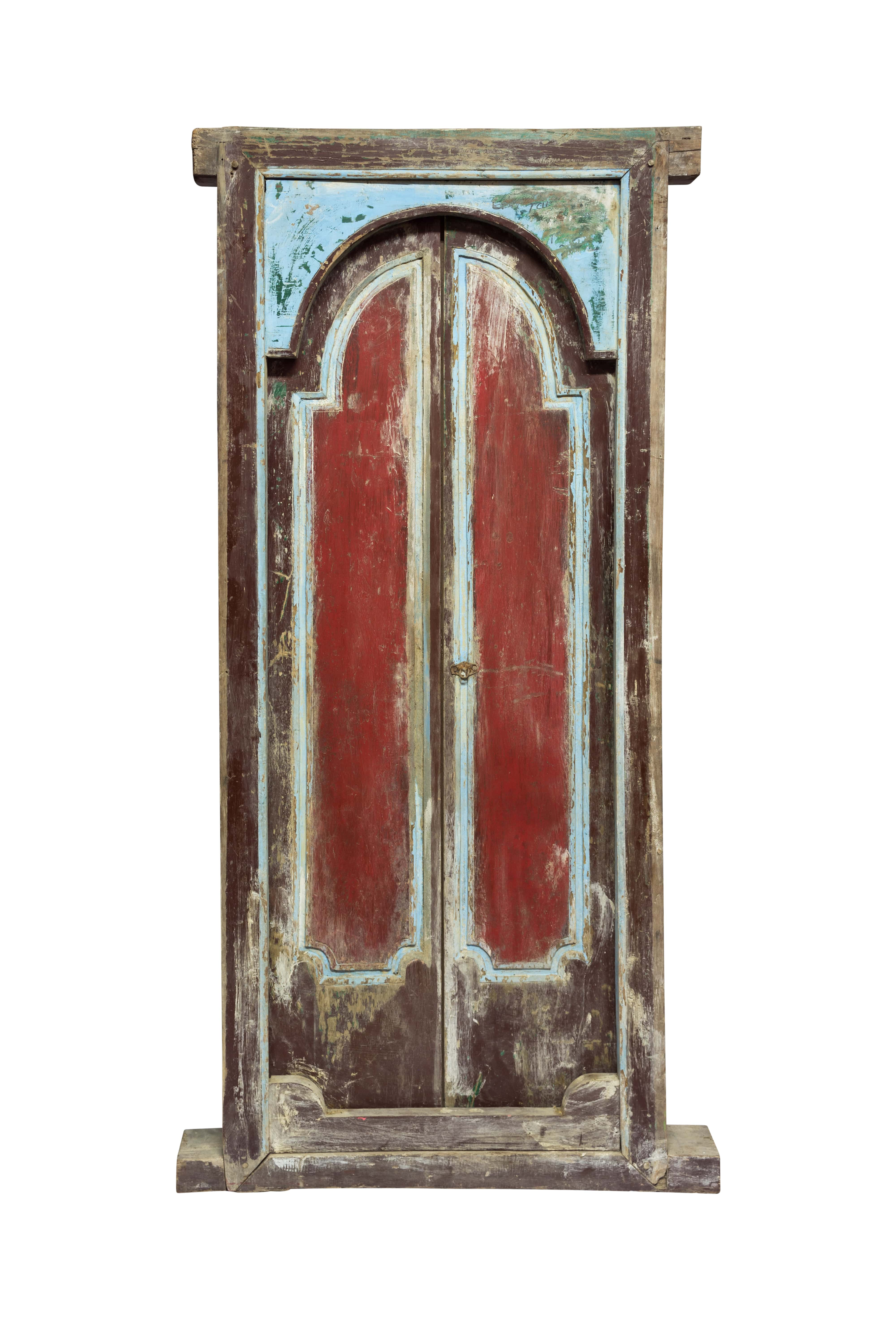 Double wooden door Indonesia red and blue