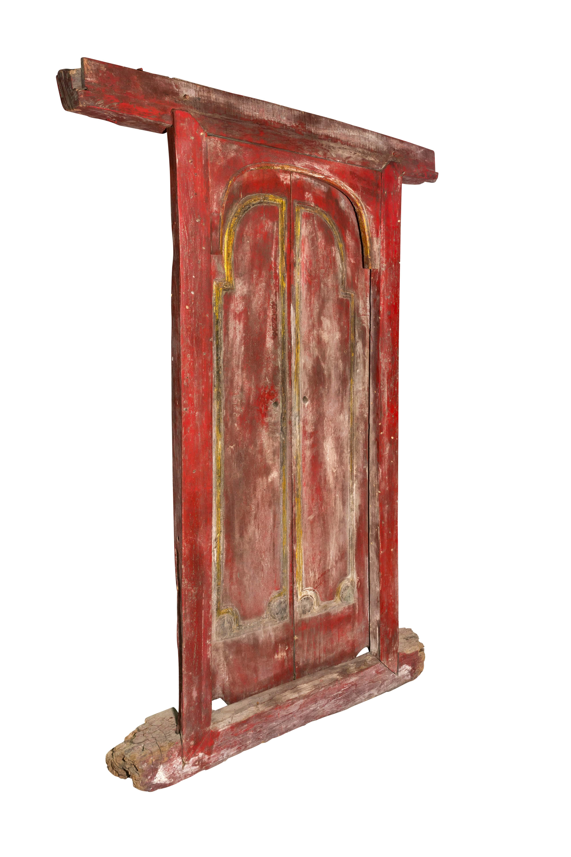 Puerta de madera doble Indonesia rojo