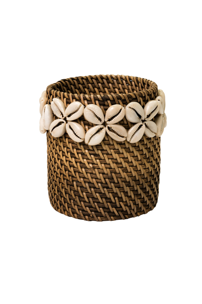 Bottle holder in rattan with snail flowers