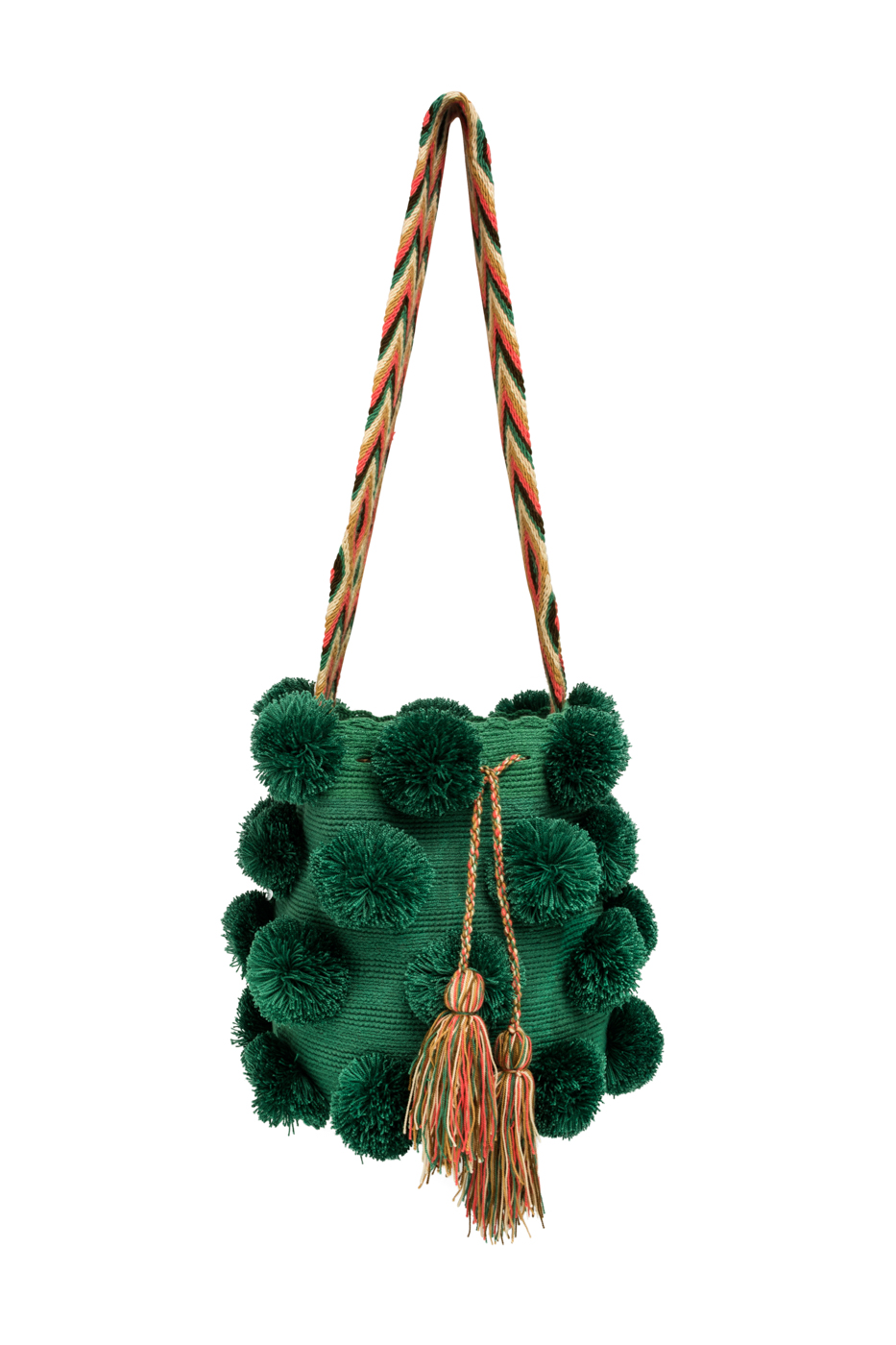 Mochila Wayuu pompones desflecados- verde