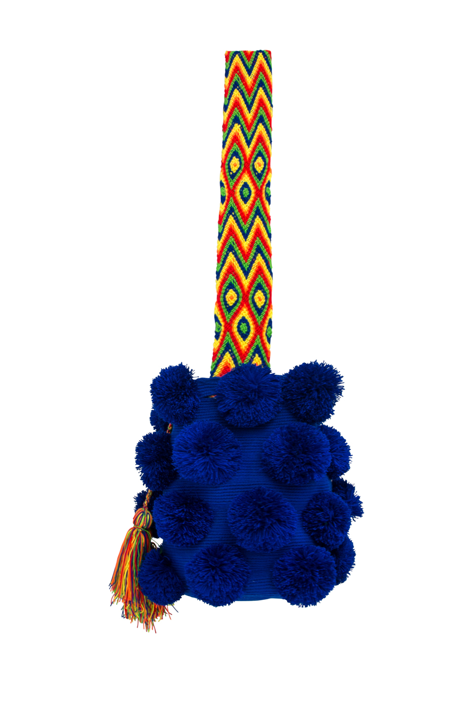 Mochila Wayuu pompones desflecados azul oscuro