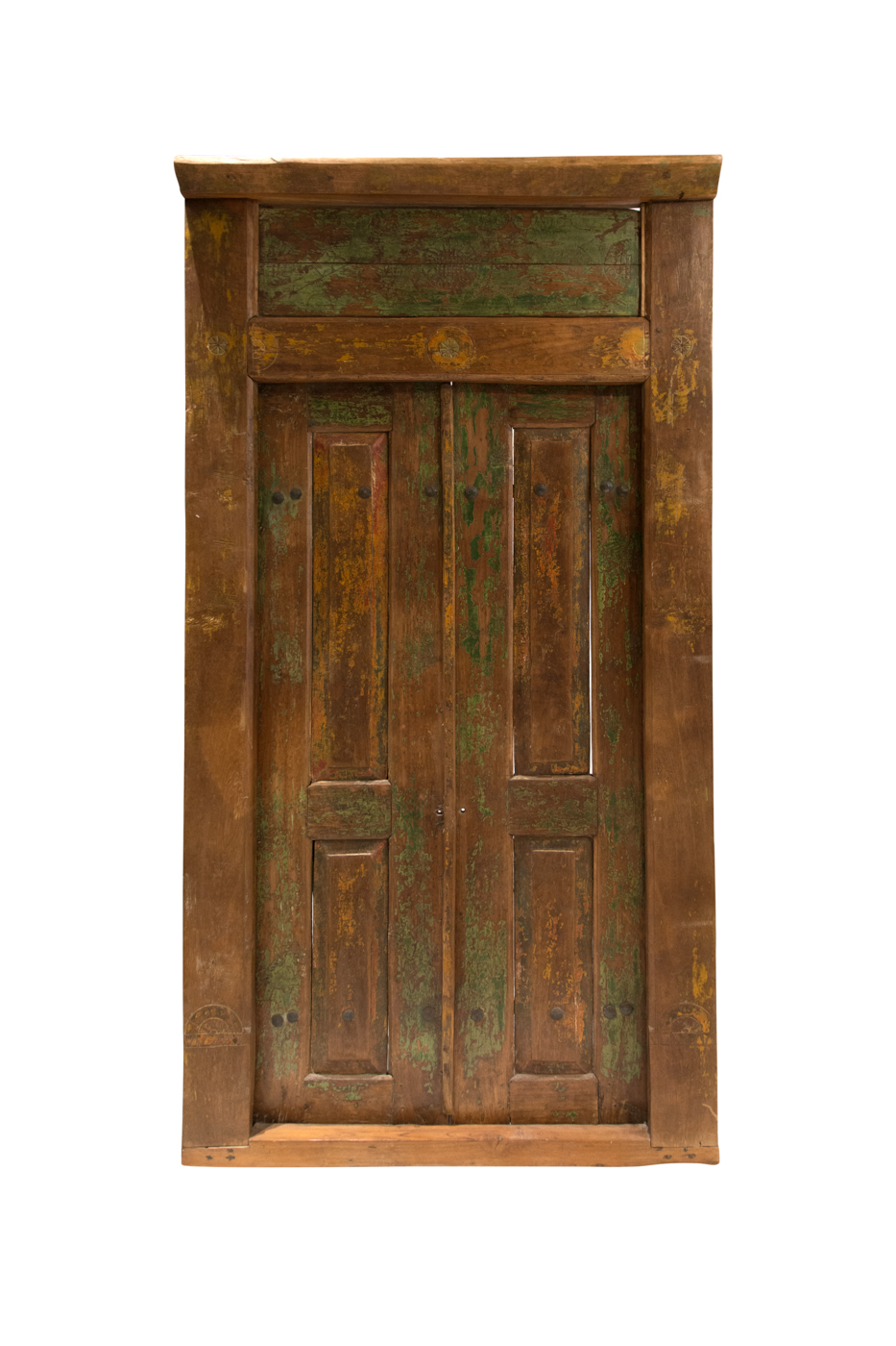Puerta de madera doble rectangular