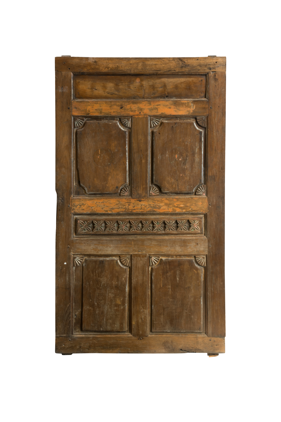 Double wooden door carved circles
