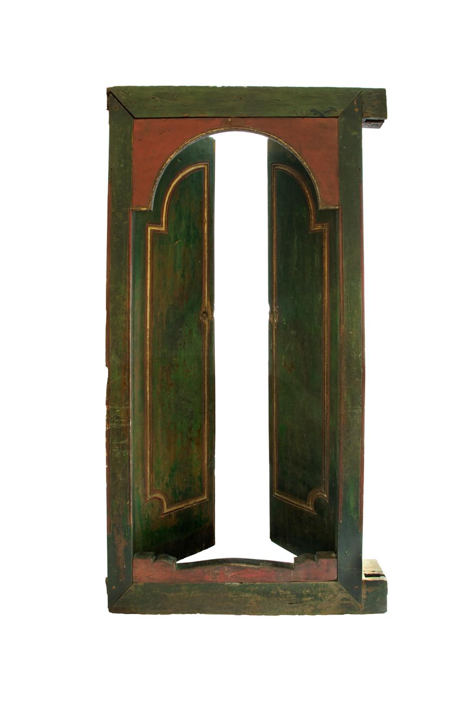 Puerta de madera doble Indonesia verde