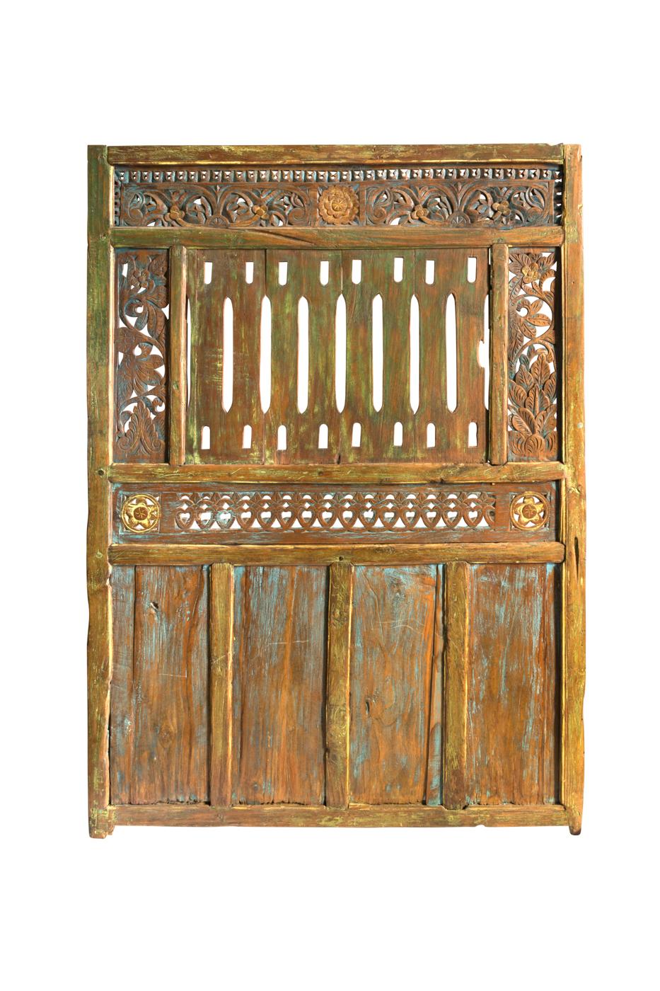 Carved wooden door flower