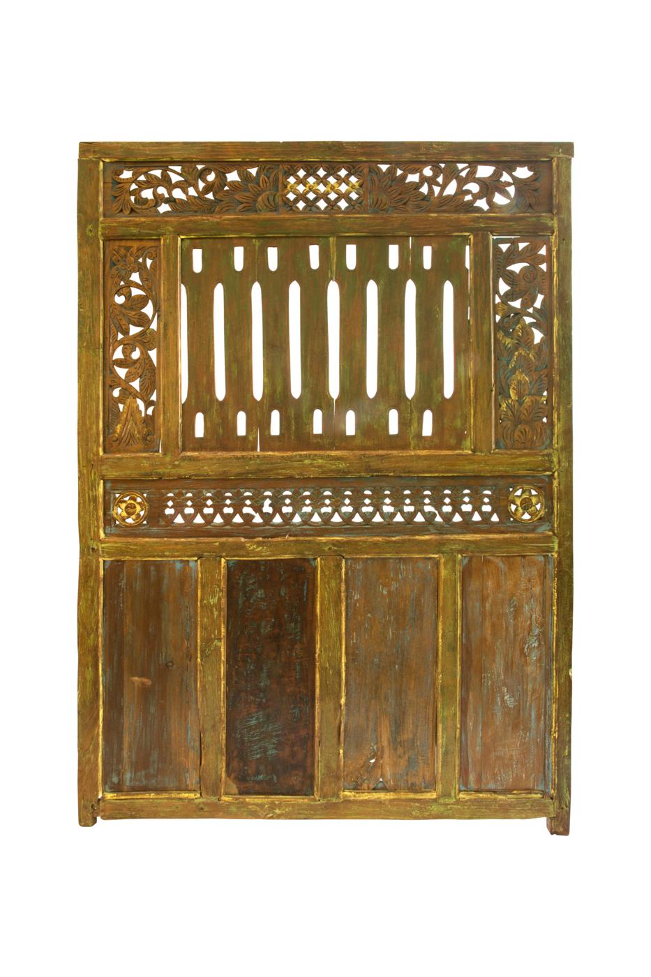 Rhombus carved wooden door