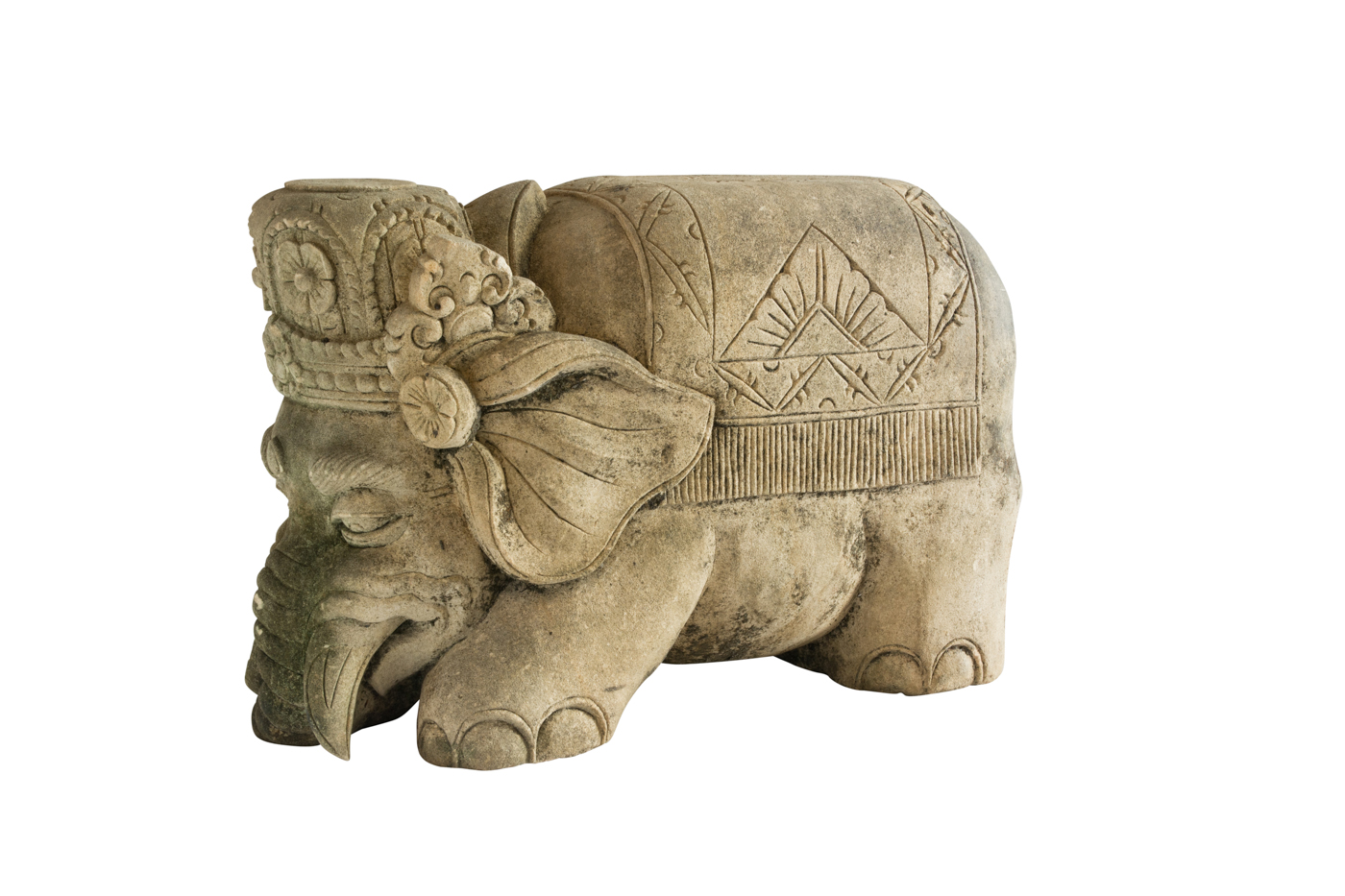 Elephant carved in brown limestone