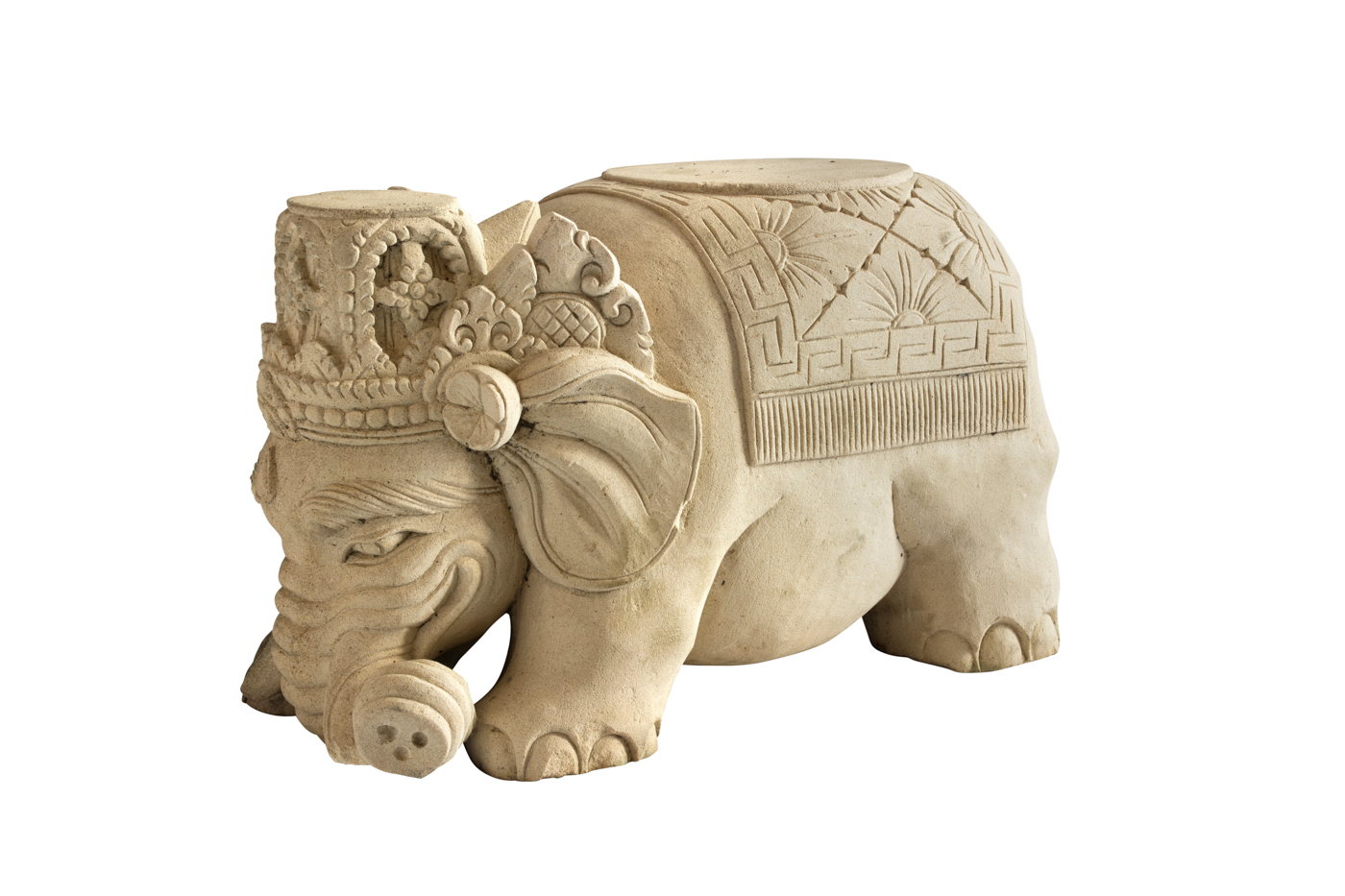Elephant carved in white limestone