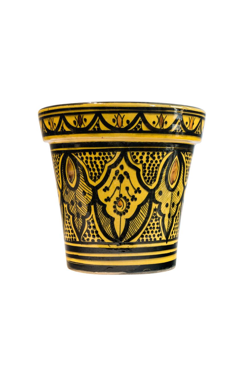 Moroccan ceramic pot, yellow
