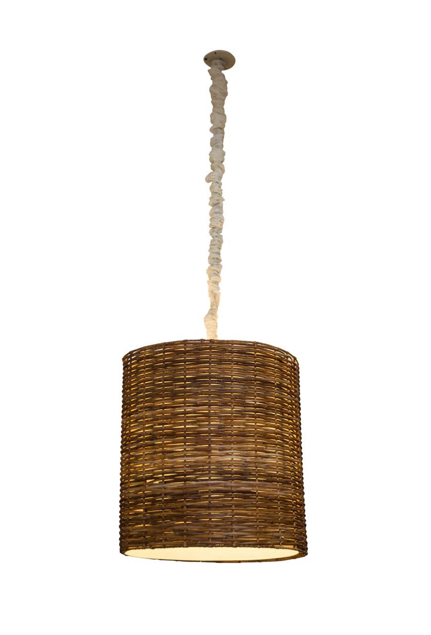 Lámpara de colgar cilíndrica en rattan