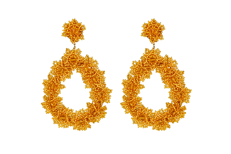 Arete Flores De Chaquira Dorado