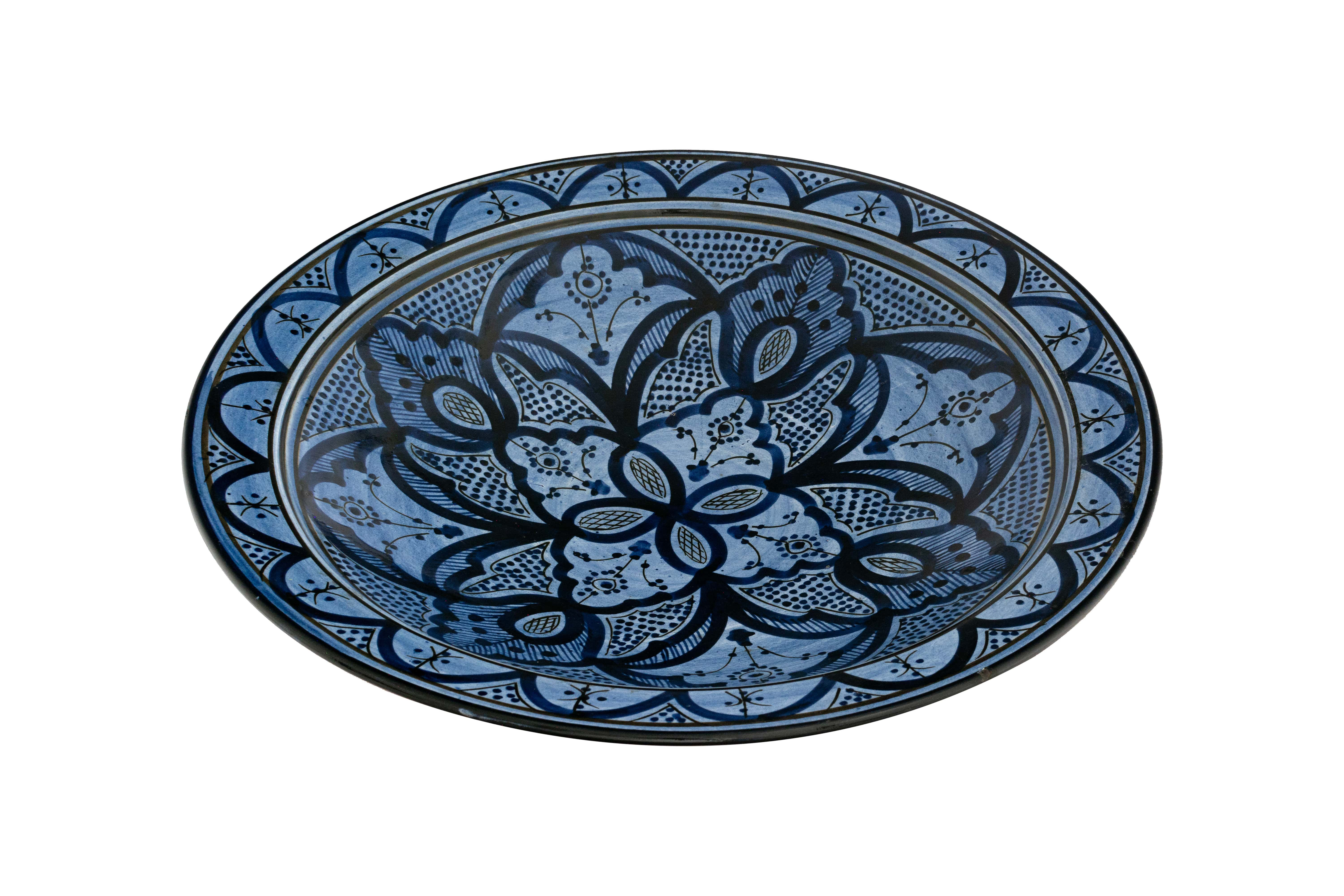 Moroccan ceramic plate painted blue