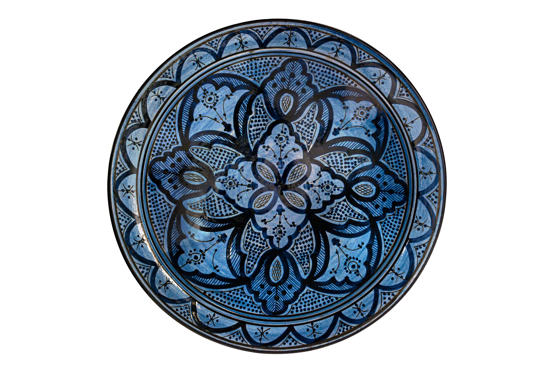 Plato Marroquí en cerámica pintado-azul