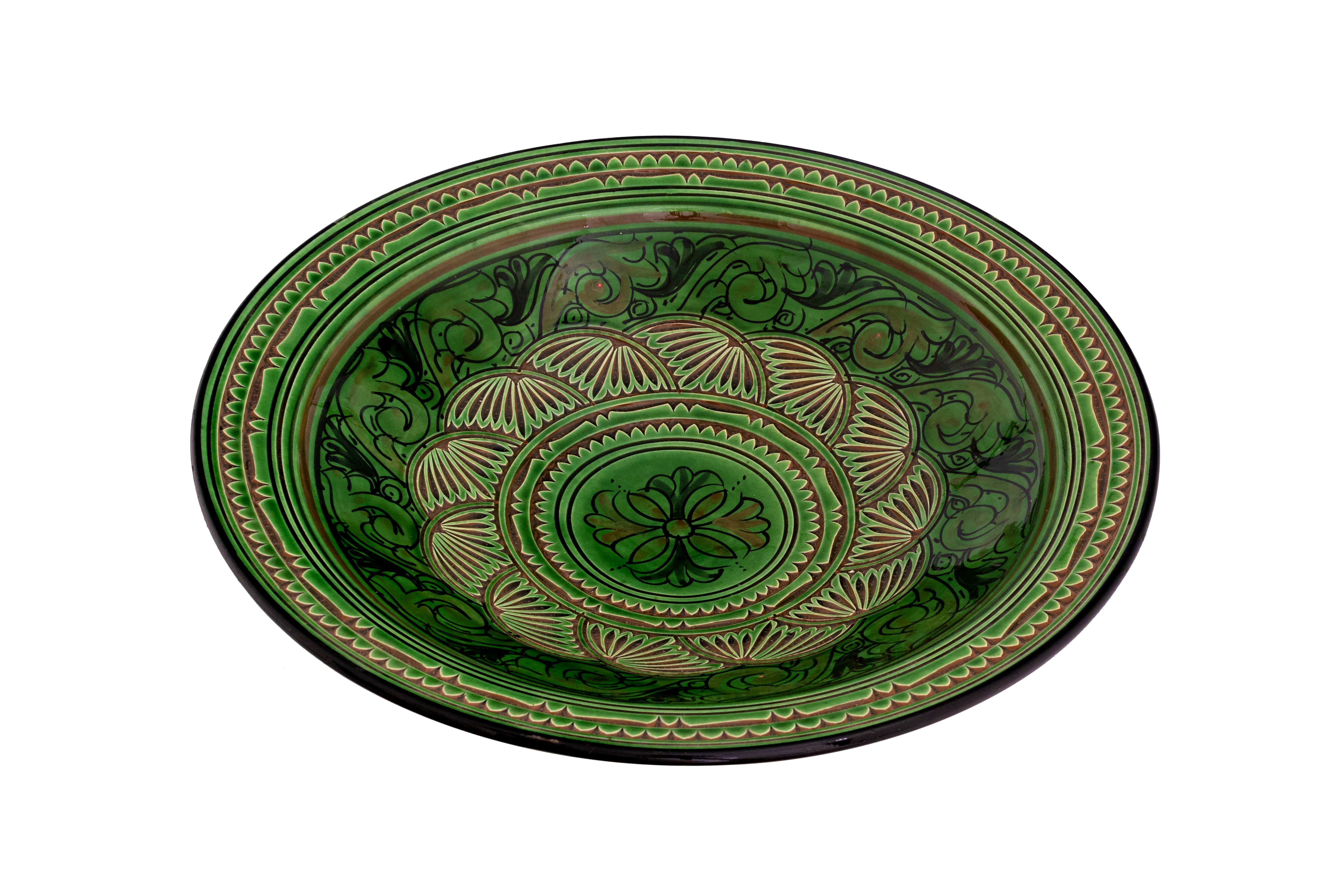 Moroccan ceramic plate carved green