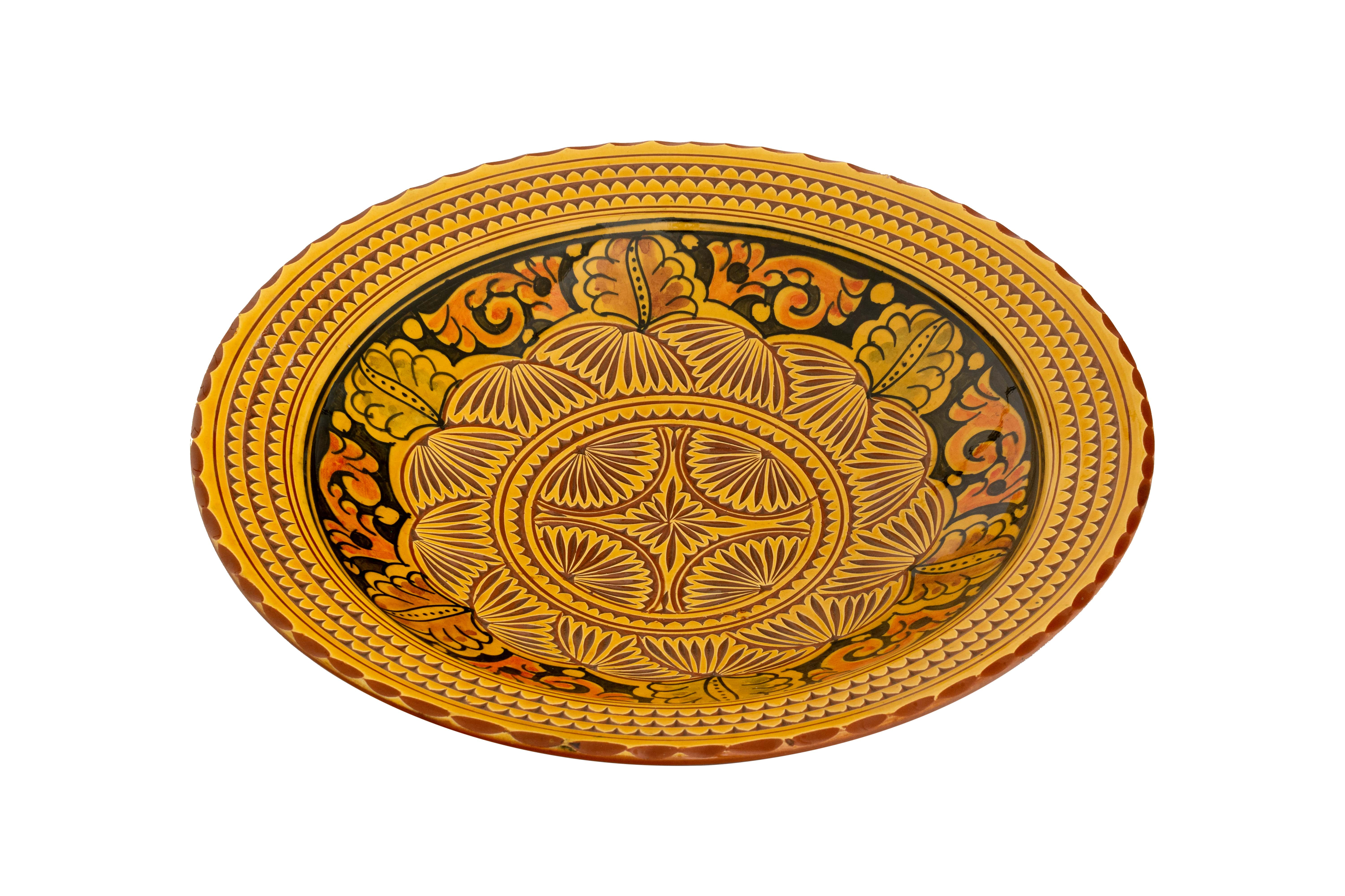 Moroccan ceramic plate carved yellow