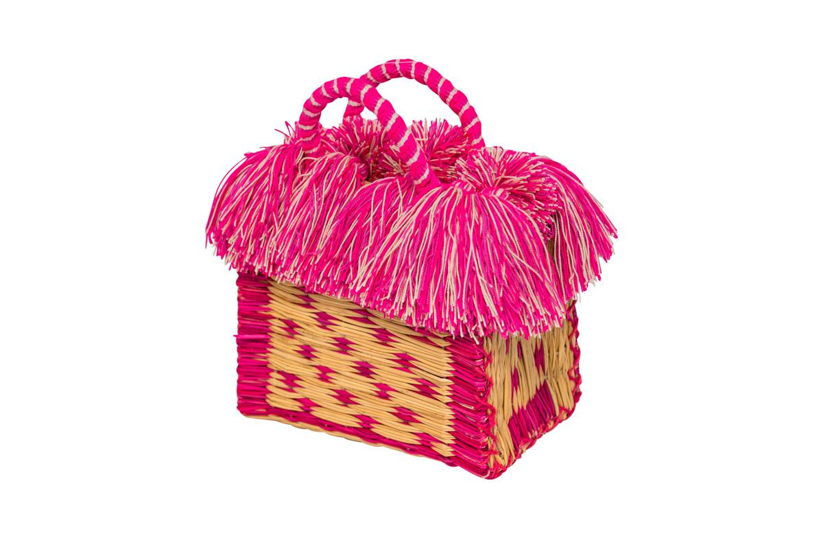 Canastico fibra y flecos rosado
