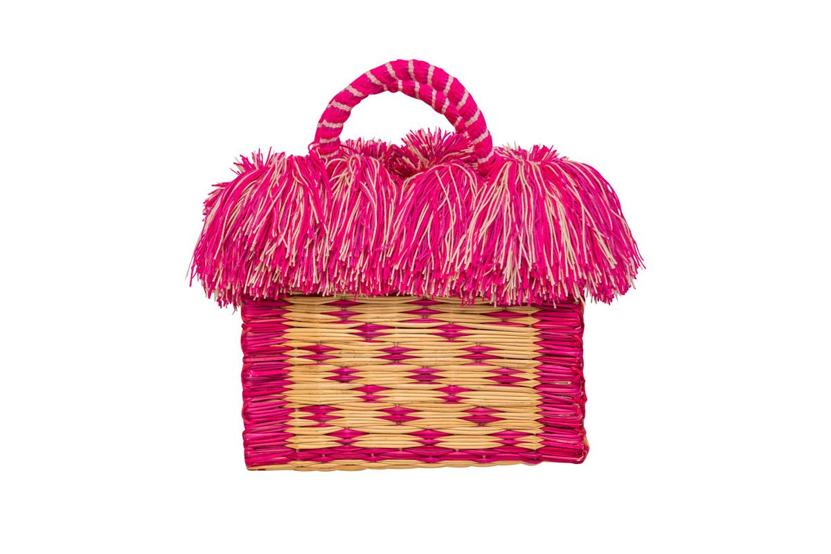 Fiber and pink fringed baskets