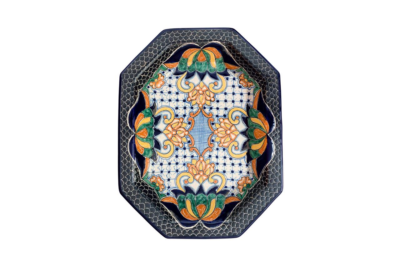 Plato de serviren cerámica Uriarte Talavera