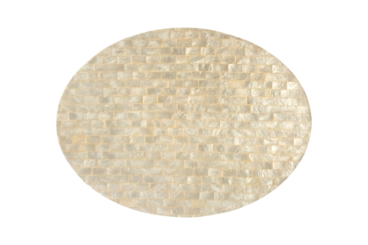 Oval mother-of-pearl placemat dark gray