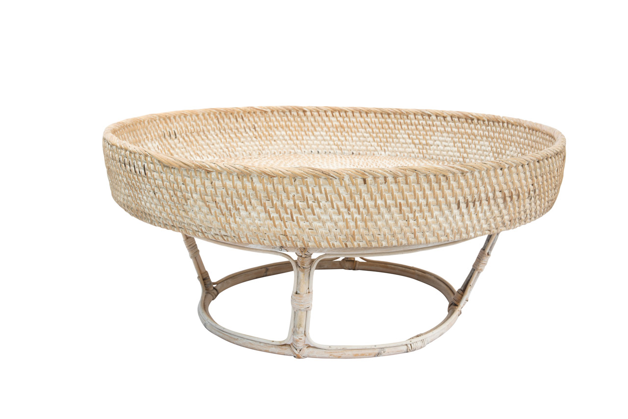 Whitewash rattan centerpiece