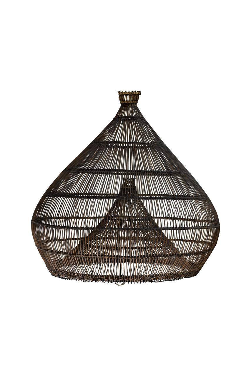 Lámpara estilo camaronera en bamboo café