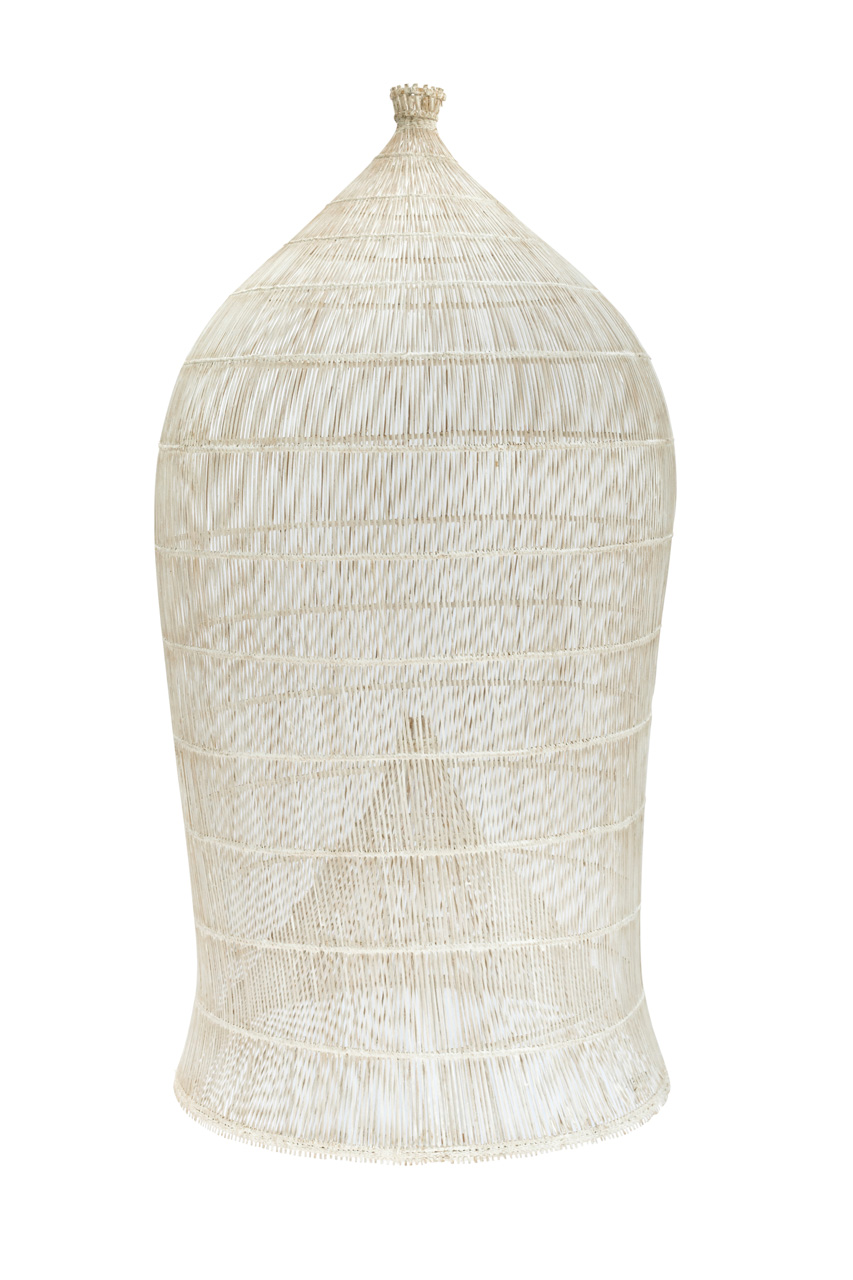 Lámpara estilo camaronera whitewash en bamboo