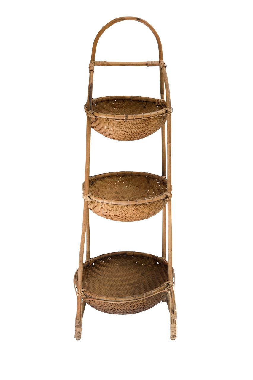 Porta Canastos 3 Niveles En Bamboo