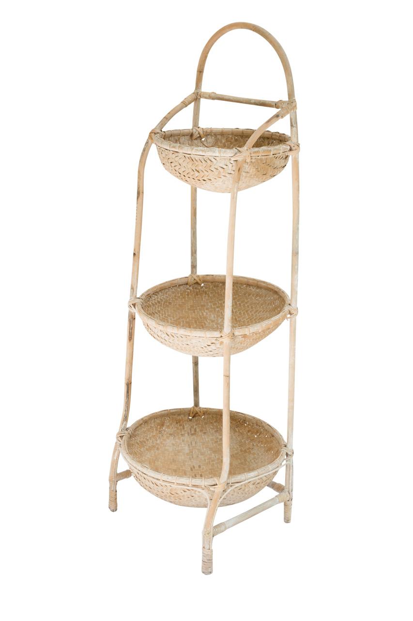 Porta canastos 3 niveles en bamboo natural