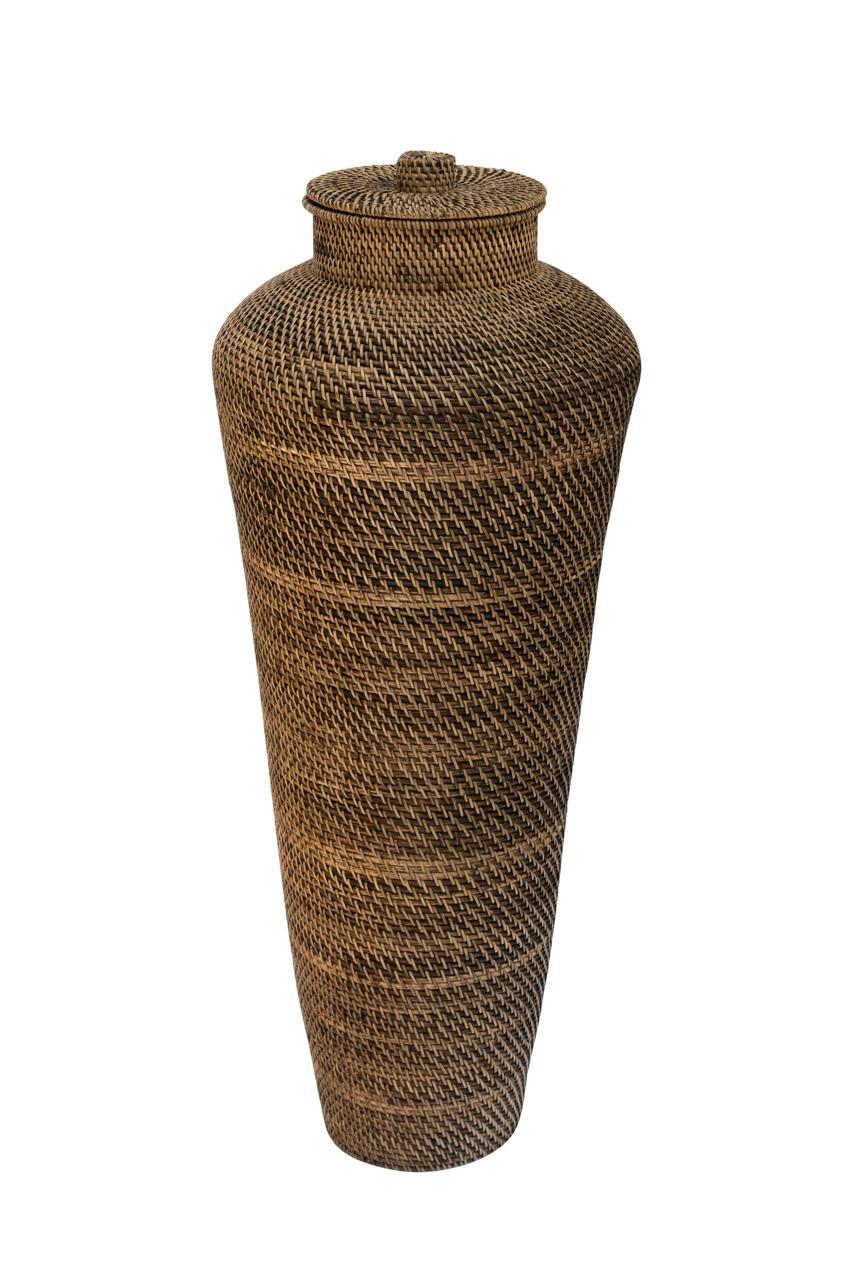 Conical floor vase in rattan 96 Cm