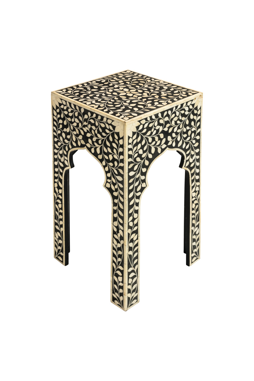 Floral design side table in wood and bone