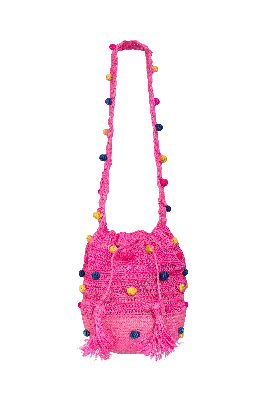 Fique Mochila Handbag with Iraca base, Fuchsia