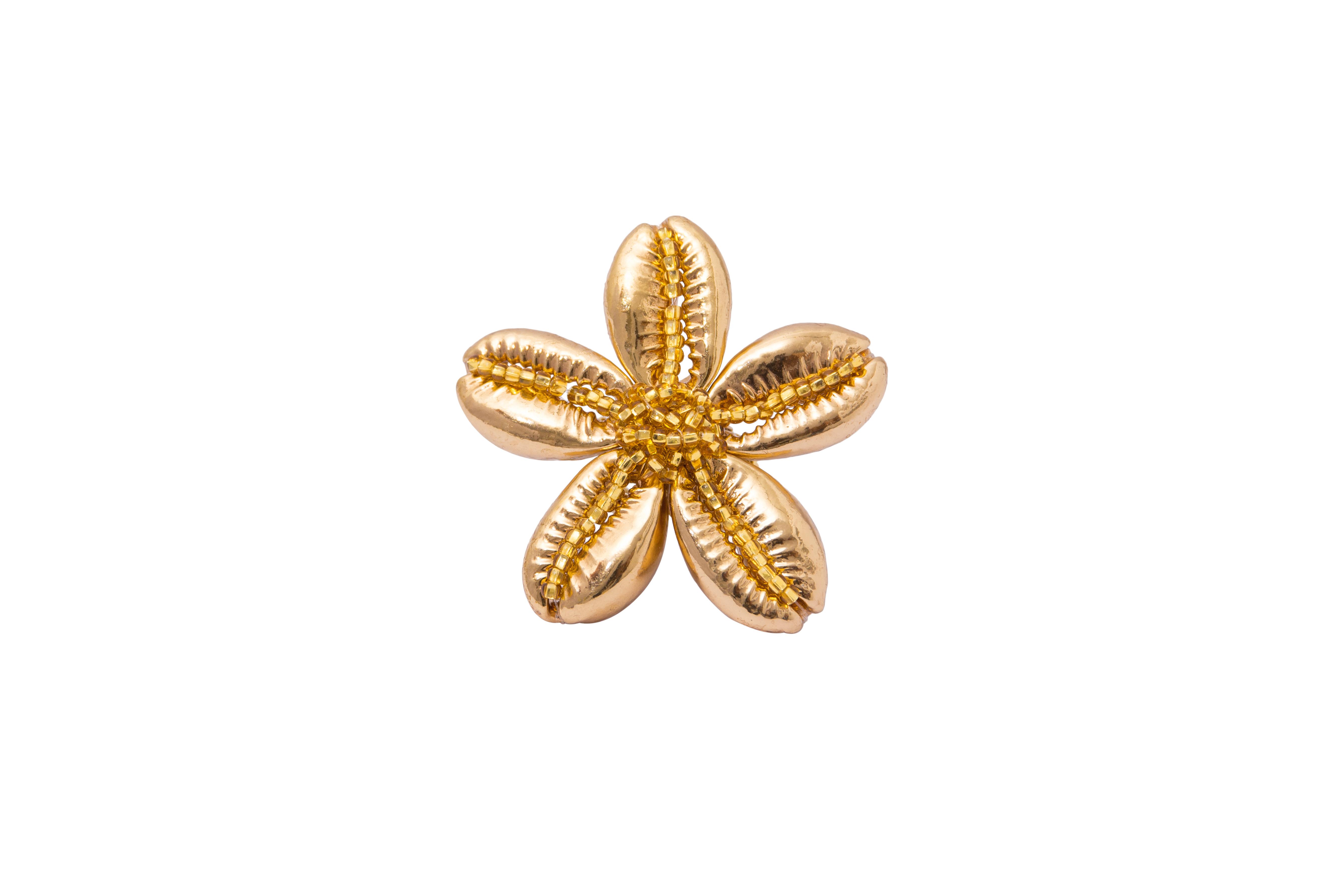 Golden Snails Flower Ring