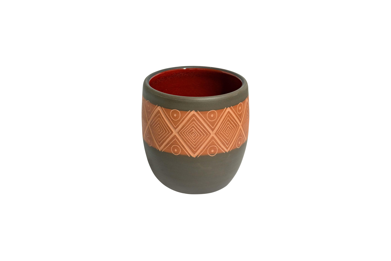 Vajilla en cerámica tierra quemada Oaxaca rombos
