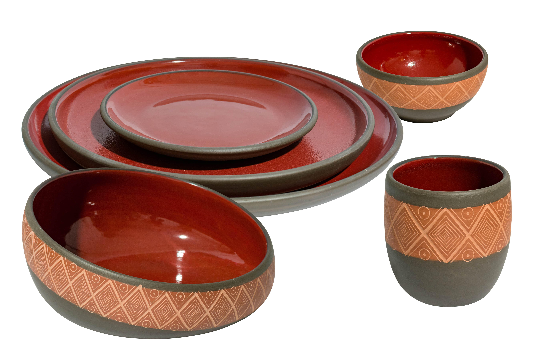 Oaxaca burnt earth ceramic tableware Oaxaca rhombuses