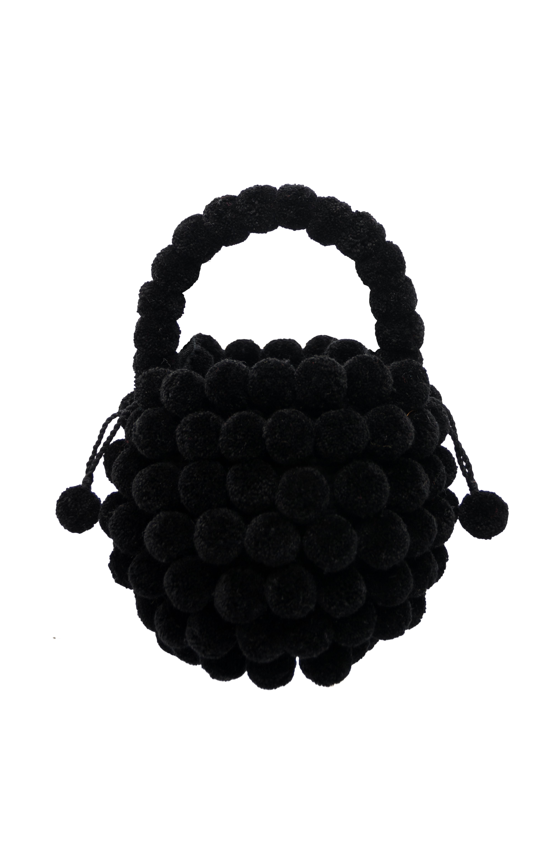 Multi-Pompon Backpack black