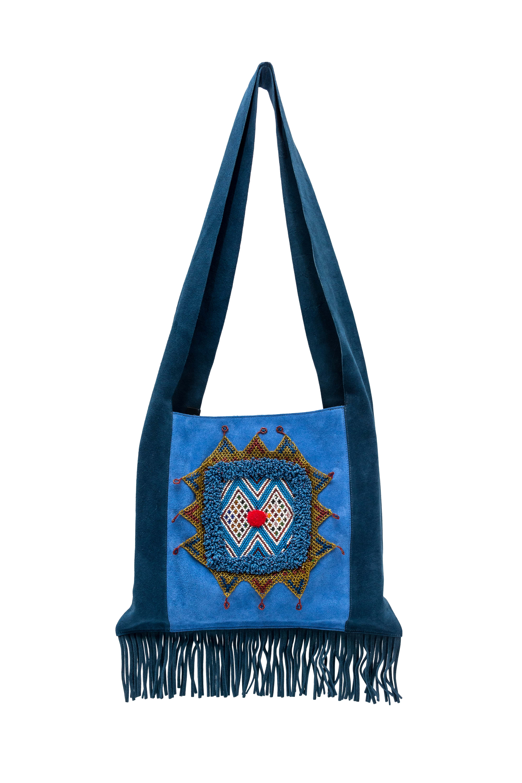 Bolso Artesanal Con Parche Etnico Azul