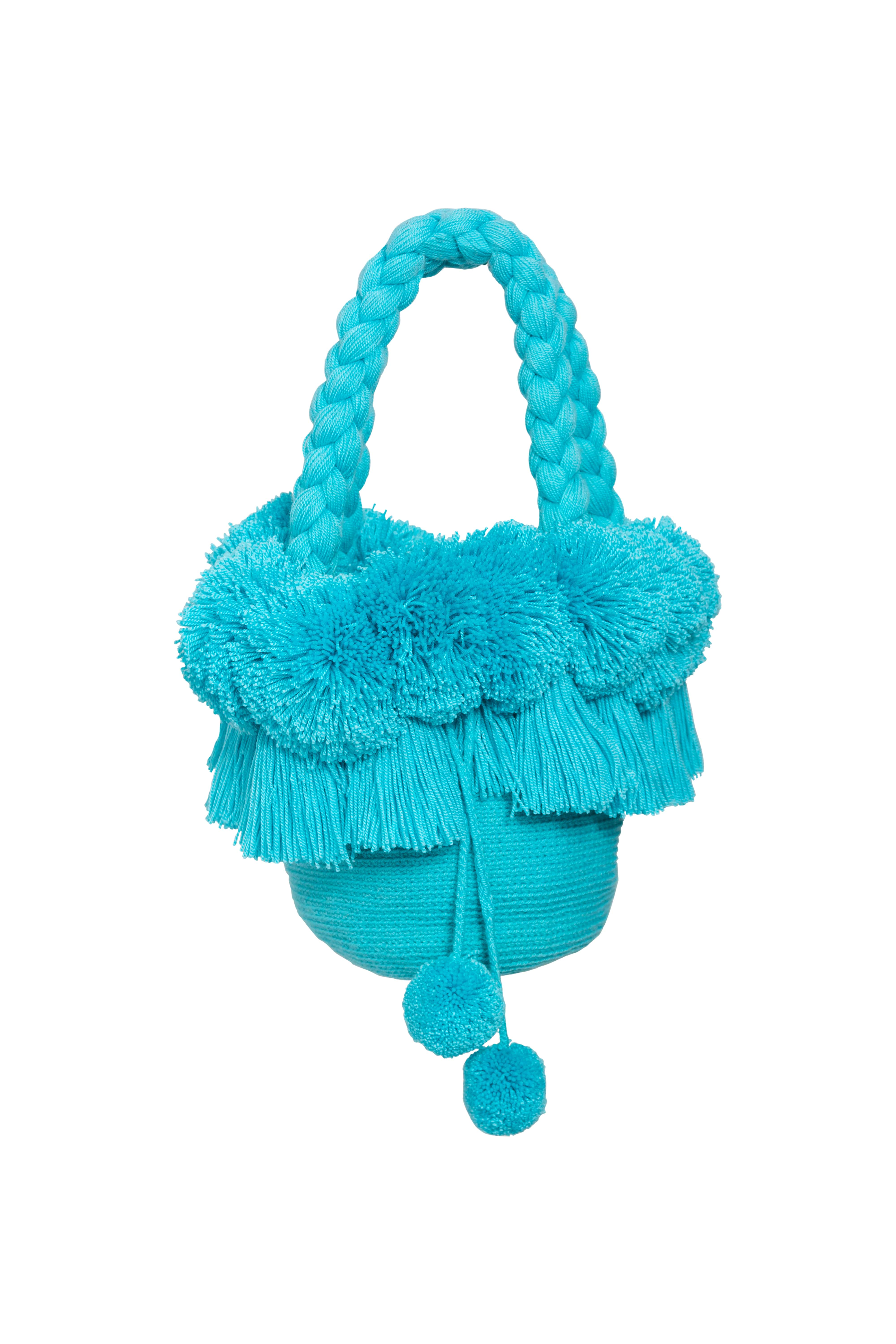 Fringed backpack and pompoms baby blue