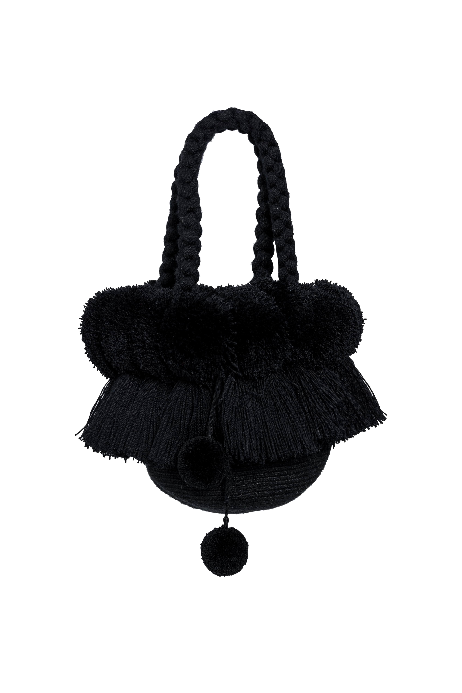 Fringes and pompoms backpack Black