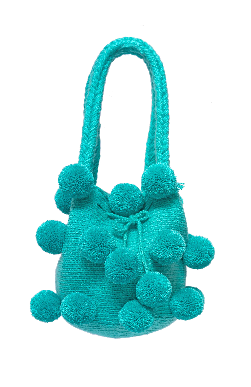 26 Pompoms handbag mint green