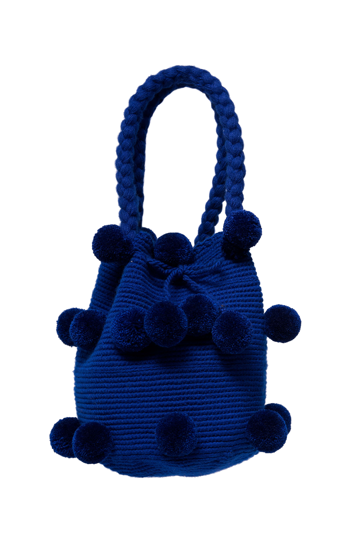 26 Pompom Mochila Handbag King Blue
