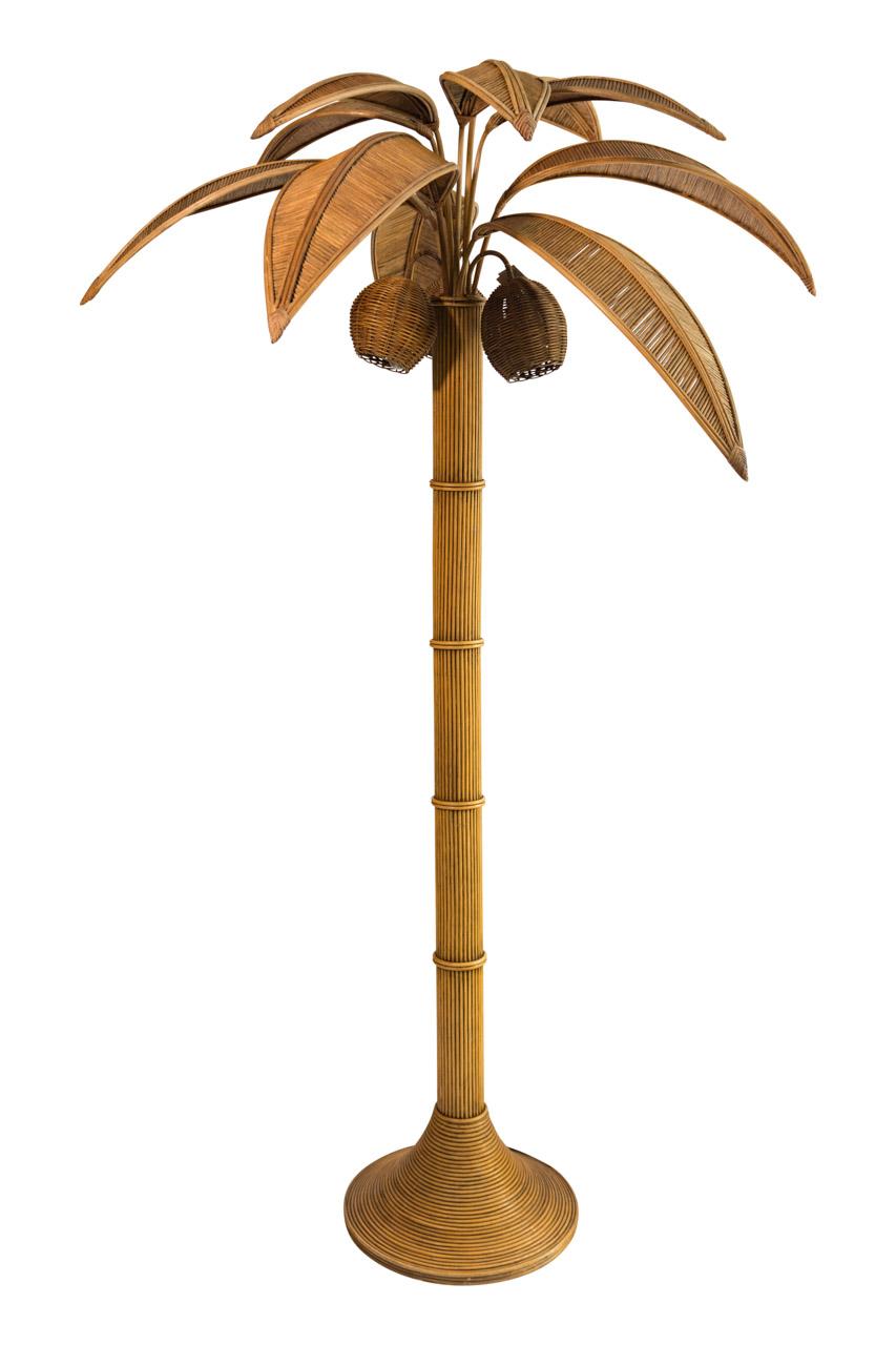 Lámpara de piso palmera en rattan