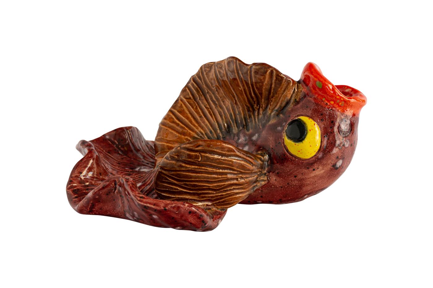 Cenicero Cerámica, Pescado Rojo Oscuro